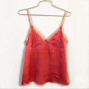 Rebecca Taylor coral red silk camisole top sz 2